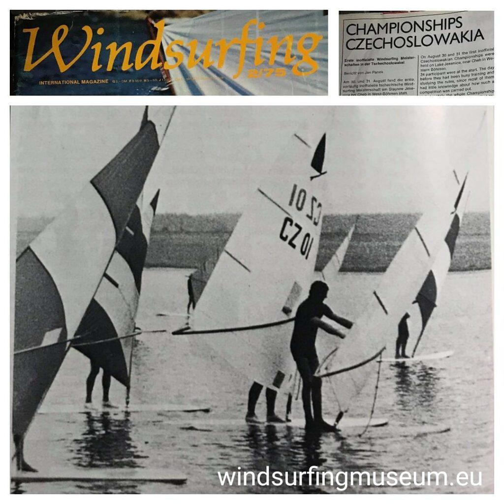 Happy 45th Anniversary! 30.8.1975 was the first BIG day ever for Czechoslovak windsurfers. They met for the first regatta and established a comittee for further development and official acknowledgement of windsurfing as a sailing class. Thank you, Bruce Mattlack for the WINDSURFING magazine's article. * 30.8. 1975 v 11:27 na Jesenické přehradě zazvonil zvonec a byla odstartována první WS regata. Takto o události tehdy referoval Mladý Svět. Málokdo ale ví, že o '1. neoficiálním šampionátu Československa', napsal i WINDSURFING magazín (předchůdce SURFu). Článek Jana Pánka nám poslal z USA Bruce Mattlack, první mistr světa ve windsurfingu.